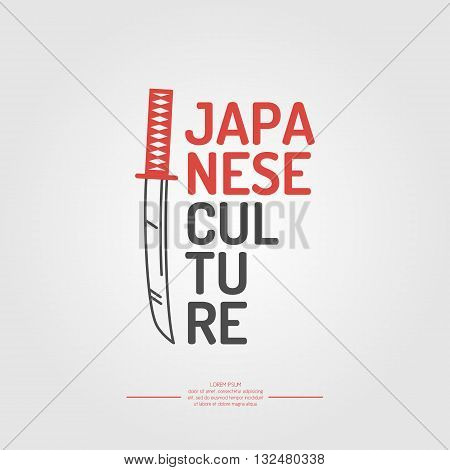 A poster with the text of the Japanese culture. Symbol Japan on white background in flat style. Vector illustration elements and icons for cards illustration poster and web design.