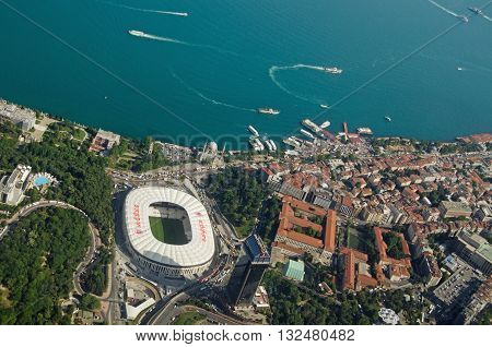 ISTANBUL, TURKEY - MAY 30, 2016: Aerial view of the Beşiktaş district of Istanbul with the prominent Vodaphone Arena also known as the Inonu Stadium home to the Beşiktaş J.K football team members of Turkey's Super Lig.