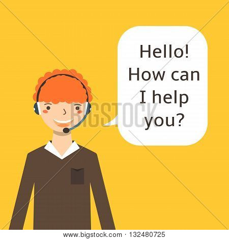 Cute flat style worker operator with earphones microphone. Ginger curly haired call center worker icon