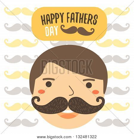 Cute flat style card postcard background for happy fathers day. Happy fathers day cover with colorful mustache father man face text space banner