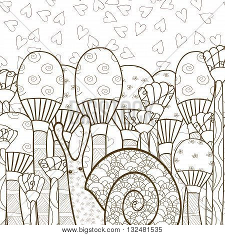 Cute snail in whimsical mushroom forest adult coloring book page. Line art vector illustration. Brown outline.