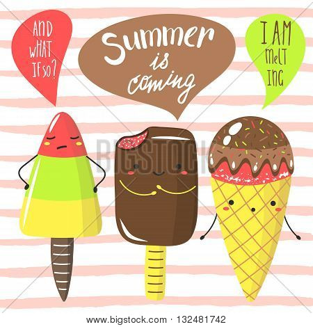 Cute hand drawn doodle summer is coming card postcard cover with ice cream funny characters. Summer is coming background. Dialog between ice cream about summer. Ice cream icons set