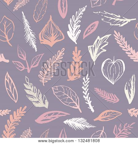 Abstract botanical seamless background, plants and leaves, modern trendy botanical pattern, vector pattern
