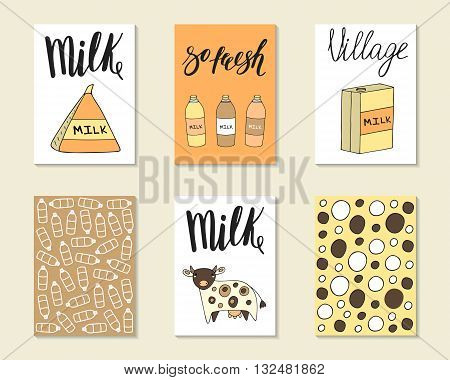 Cute hand drawn doodle milk food industry cards brochures covers with milk pack milk bottle cow decorative elements. Cartoon objects animals background.