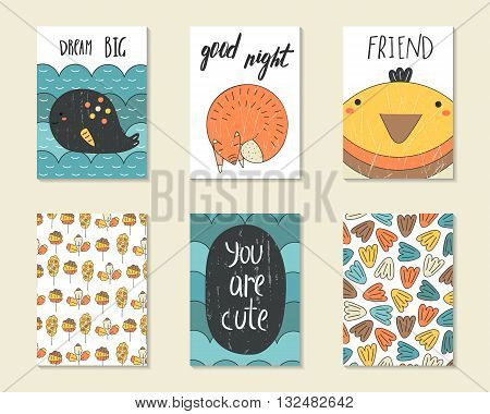 Cute doodle birthday party baby shower cards brochures invitations with whale wave fox bird leaves grunge textures. Cartoon characters objects background. Printable templates set