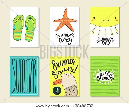 Cute doodle summer party cards brochures invitations with flip flops sea star sun seagull. Cartoon characters objects background. Printable templates set for children