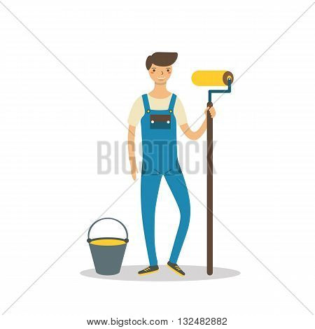 Cute flat style worker with paint roller bucket with paint. Repairman character in uniform