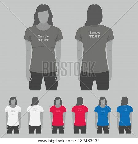 T-shirt Women back and front. Women body silhouette