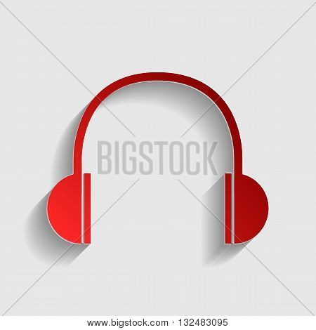 Headphones sign illustration. Red paper style icon with shadow on gray.
