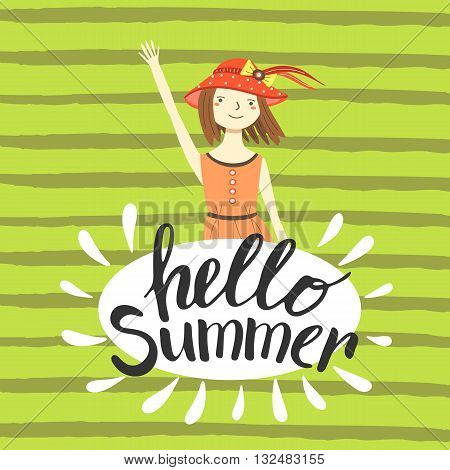 Cute hand drawn hello summer card postcard cover with girl. Girl in hat with brown hair in summer dress. Hello summer background banner. Hello summer lettering quote