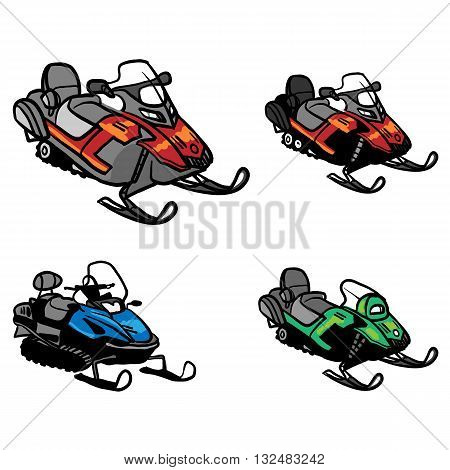 Snowmobiles vector. Iconset of different Snowmobiles isolated background. Winter snow bike.