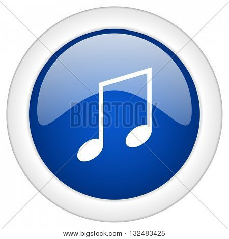 music icon, circle blue glossy internet button, web and mobile app illustration