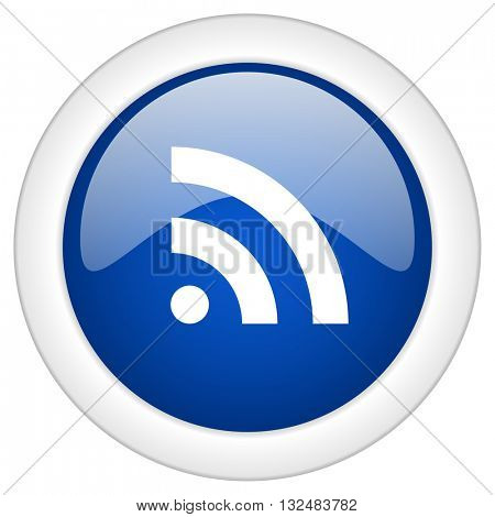rss icon, circle blue glossy internet button, web and mobile app illustration