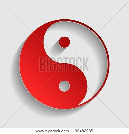 Ying yang symbol of harmony and balance. Red paper style icon with shadow on gray.