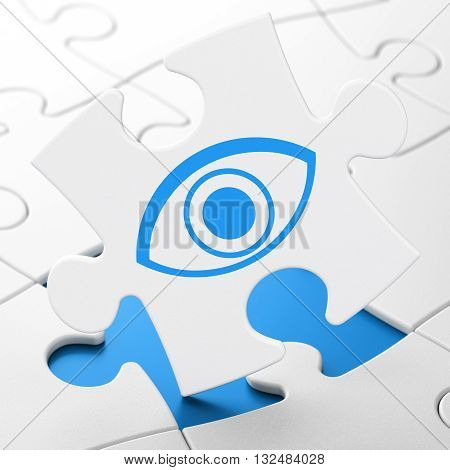 Safety concept: Eye on White puzzle pieces background, 3D rendering