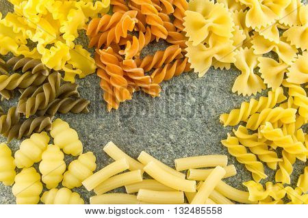 Pasta Mix Ordered On A Stone Table