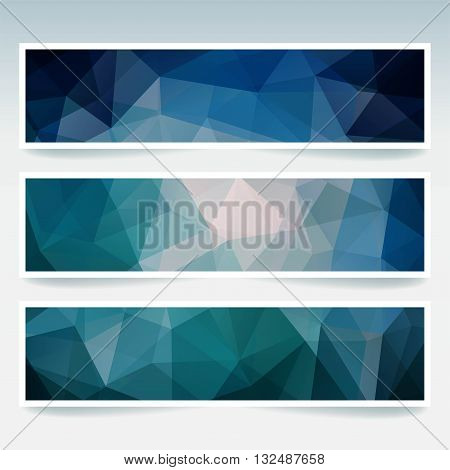 Horizontal Banners Set With Polygonal Triangles. Polygon Background, Vector Illustration. Dark Blue