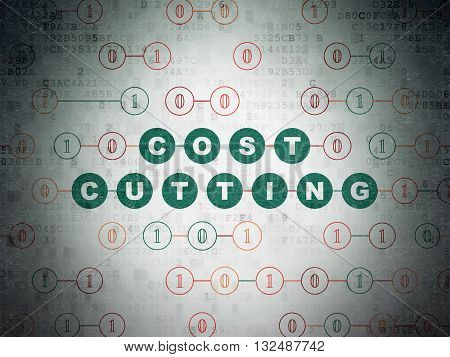 Finance concept: Painted green text Cost Cutting on Digital Data Paper background with Binary Code