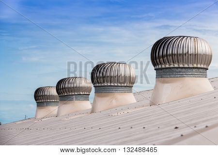 Roof Ventilators of a industrial factory in Samutsakorn Industrial Estate, Thailand