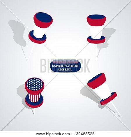 Set of pushpin in the national colors of United States of America vector illustration.