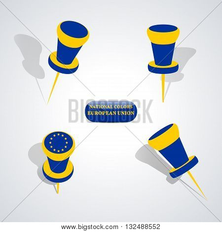 Set of pushpin in the national colors of European Union vector illustration.