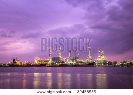 A oil refinery factory in Samutsakorn Industrial Estate, Thailand