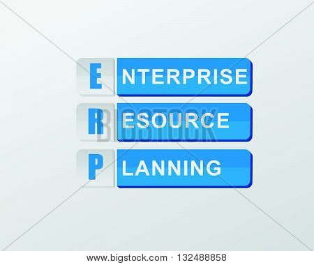ERP - enterprise resource planning - text in blue banners, flat design, business systems concept, vector