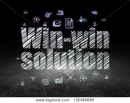 Finance concept: Glowing text Win-win Solution,  Hand Drawn Business Icons in grunge dark room with Dirty Floor, black background