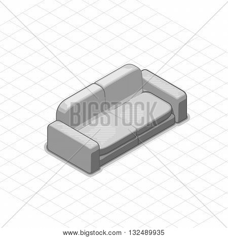 Sofa or couch vector illustration. 3d isometric vector sofa or couch. Isometric vector furniture. Furniture illustration of sofa or couch