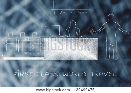 Traveler At Bag Drop Airport Check-in, First Class World Travel