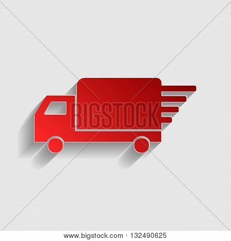 Delivery sign illustration. Red paper style icon with shadow on gray.