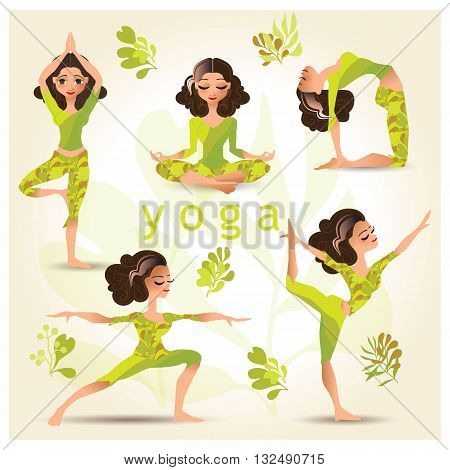 Set with beautiful woman in various poses of yoga. Vector set of yoga illustration. Set of yoga poses. Yoga exercises. Women yoga. Yoga class, yoga center, yoga studio. Yoga poster. Healthy lifestyle.