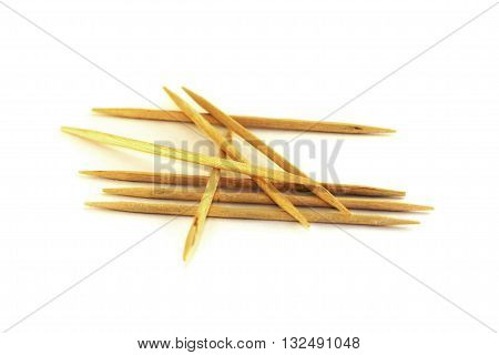 group of toothpicks isolated on white background