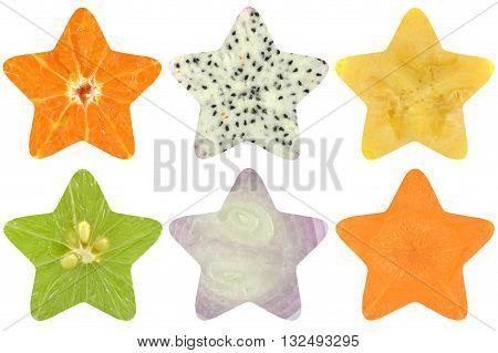 Star shaped fruit and vegetable on white background