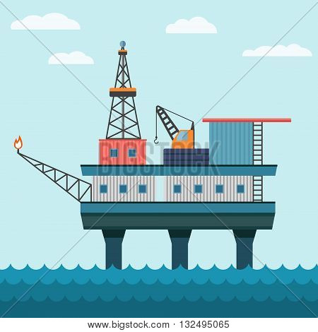 Vector industrial flat illustration offshore oil platform in sea background. Helipad, crane, derrick, hull column.