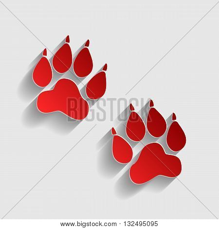 Animal Tracks sign. Red paper style icon with shadow on gray.