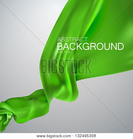 Green silk fabric. Vector illustration with green satin or silk fabric. Vector silk textile