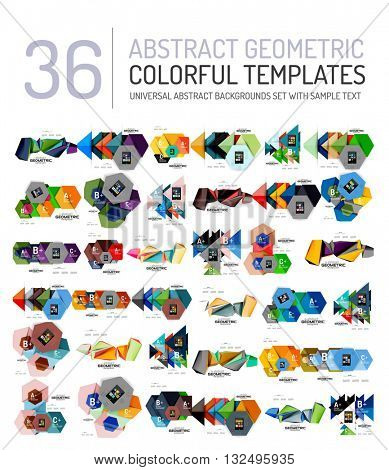 Collection of abstract backgrounds - colorful textured glossy geometric shape compositions with infographics option sample text, repetition of elements. Colorful geometric universal template, bright