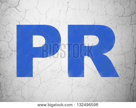 Advertising concept: Blue PR on textured concrete wall background