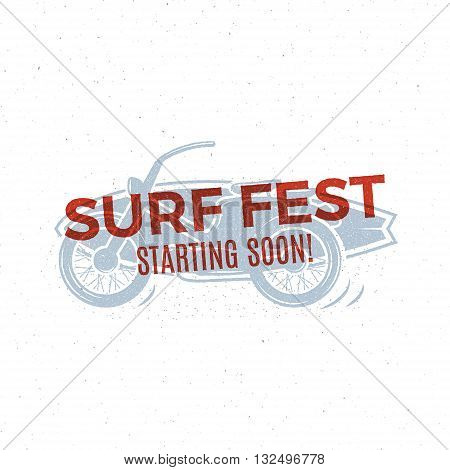 Vintage Surfing tee design. Retro Surf fest t-shirt Graphics and Emblem for web design or print. Surfer motorcycle logo design. Surf Badge. Surfboard stamp, elements, symbols. Summer colors. Vector.