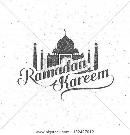 Ramadan Kareem. vector typographic illustration of handwritten Ramadan Kareem retro label. lettering composition of muslim holy month with mosque building