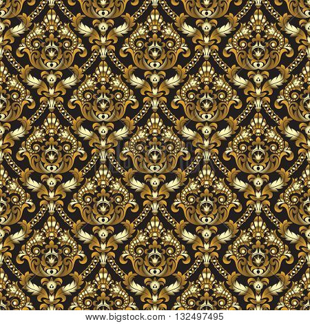 Gold shining vintage seamless pattern background. Vector illustration