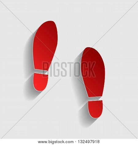 Imprint soles shoes sign. Red paper style icon with shadow on gray.
