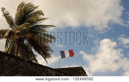 The French flag hoisted on a top of Fort Saint Louis Martinique island french West Indies.