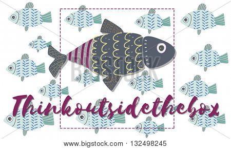 Individuality Unique Different Fish Graphic Concept