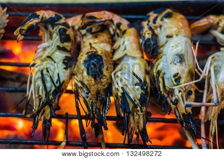 Grilled Fresh Shrimps On The Flaming Grill.
