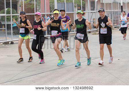 BANGKOK THAILAND - MAY 29 : sport and healthy people running in bangkok port mini marathon event on may 13 2016 in bangkok thailand