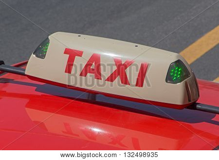 close up of vacant taxi top lamp