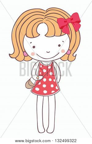 A girl in a pink dress on white background. T shirt print. Cute pretty kid. Cartoon Little child. Vector pattern. Beautiful illustration. isolated