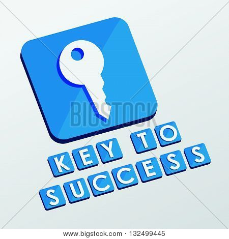 key to success and key sign - white text with symbol in blue flat design blocks, business creative concept, vector